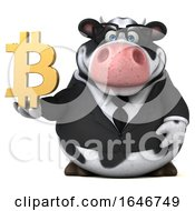 3d Business Holstein Cow Holding A Bitcoin Symbol On A White Background