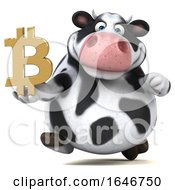 3d Holstein Cow Holding A Bitcoin Symbol On A White Background