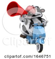 Poster, Art Print Of 3d Holstein Cow Riding A Scooter On A White Background