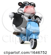 Poster, Art Print Of 3d Business Holstein Cow Riding A Scooter On A White Background