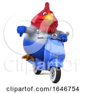 3d Chubby French Chicken Riding A Scooter On A White Background