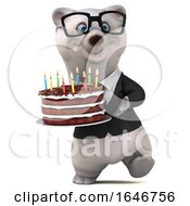 Poster, Art Print Of 3d Business Polar Bear Holding A Birthday Cake On A White Background