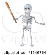 3d Skeleton With Baseball Bat And Ball