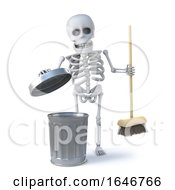 3d Skeleton Has A Spring Clean With His Broom by Steve Young
