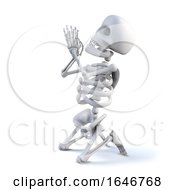 3d Skeleton Is Praying On His Knees