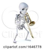3d Skeleton Playing A Trombone