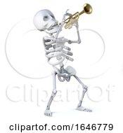 3d Skeleton Blows His Horn