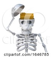 3d Skeleton Has A Folder In His Head