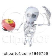 3d Funny Cartoon Skeleton Holding An Apple