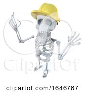 3d Funny Cartoon Skeleton Character Wearing A Construction Hard Hat
