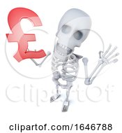 3d Funny Cartoon Skeleton Character Holding A UK Pounds Sterling Currency Symbol by Steve Young