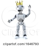 3d Robot Wearing A Gold Crown