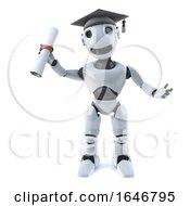 Poster, Art Print Of 3d Robot Graduates With A Diploma