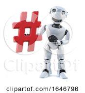 3d Cartoon Robot Mechanoid Character Holding A Hash Tag Symbol