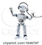 3d Robot Listens To Music On Headphones