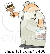 Caucasian Man Holding A Bucket Of White Paint And Using A Paintbrush To Paint A Wall Clipart Illustration Graphic by djart