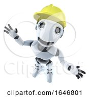 3d Funny Cartoon Mechanical Robot Characte Wearing A Builders Hard Hat