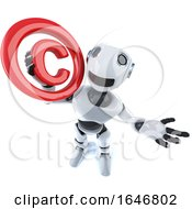 3d Funny Cartoon Robot Character Holding A Copyright Symbol