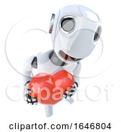 Poster, Art Print Of 3d Funny Cartoon Robot Character Holding A Red Romantic Heart