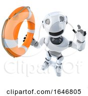 3d Funny Cartoon Robot Character Holding A Life Buoy