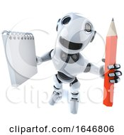 3d Funny Cartoon Robot Character Holding A Notepad And Pencil