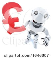 3d Funny Cartoon Robot Character Holding A UK Pounds Sterling Currency Symbol