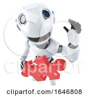 3d Funny Cartoon Robot Character Holding A Piece Of The Jigsaw Puzzle by Steve Young