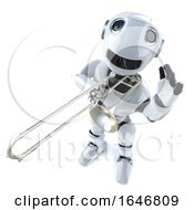 3d Funny Cartoon Robot Character Playing The Trombone