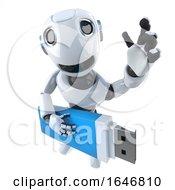 3d Funny Cartoon Robot Character Holding A Usb Thumb Drive