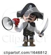 3d Crazy Cartoon Pirate Captain Character Holding A Megaphone