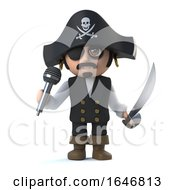3d Crazy Cartoon Pirate Captain Character Sings Into A Micrphone