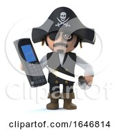 3d Crazy Cartoon Pirate Captain Character With A Mobile Phone