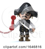 3d Cute Cartoon Pirate Captain Character Answers The Phone