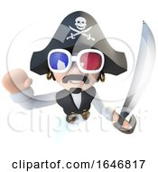 3d Funny Cartoon Pirate Captain Character Wearing 3d Glasses
