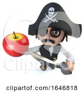 3d Funny Cartoon Pirate Captain Character Holding An Apple