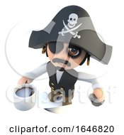Poster, Art Print Of 3d Funny Cartoon Pirate Captain Character Drinking A Cup Of Coffee