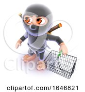 3d Funny Cartoon Ninja Assassin Carrying A Shopping Basket