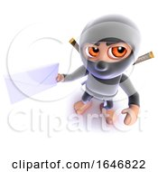 3d Funny Cartoon Ninja Assassin Holding A Letter