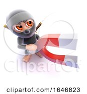 3d Funny Cartoon Ninja Assassin Holding A Magnet