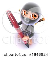 3d Funny Cartoon Ninja Assassin Writing With A Pen