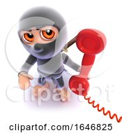 3d Funny Cartoon Ninja Assassin Answering A Phone