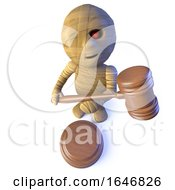 Poster, Art Print Of 3d Funny Cartoon Egyptian Mummy Monster Character Holding An Auction Gavel
