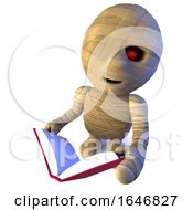 3d Funny Cartoon Egyptian Mummy Monster Character Reading A Book