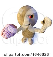 3d Funny Cartoon Egyptian Mummy Character Holding A Human Brain