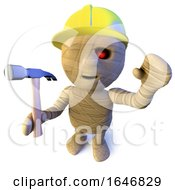 Poster, Art Print Of 3d Funny Cartoon Egyptian Mummy Character Wearing A Hard Hat And Holding A Hammer