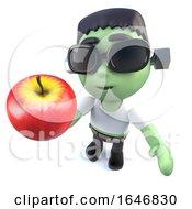 3d Funny Cartoon Halloween Frankenstein Monster Holding An Apple