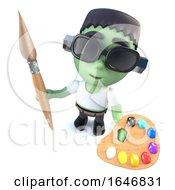 3d Funny Cartoon Halloween Frankenstein Monster Holding A Paint Brush And Palette