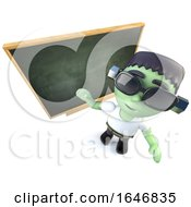 3d Funny Cartoon Frankenstein Halloween Monster Standing In Front Of A Blackboard