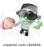 3d Funny Cartoon Frankenstein Halloween Monster Holding A Brain