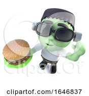 3d Funny Cartoon Frankenstein Halloween Monster Eating A Cheeseburger